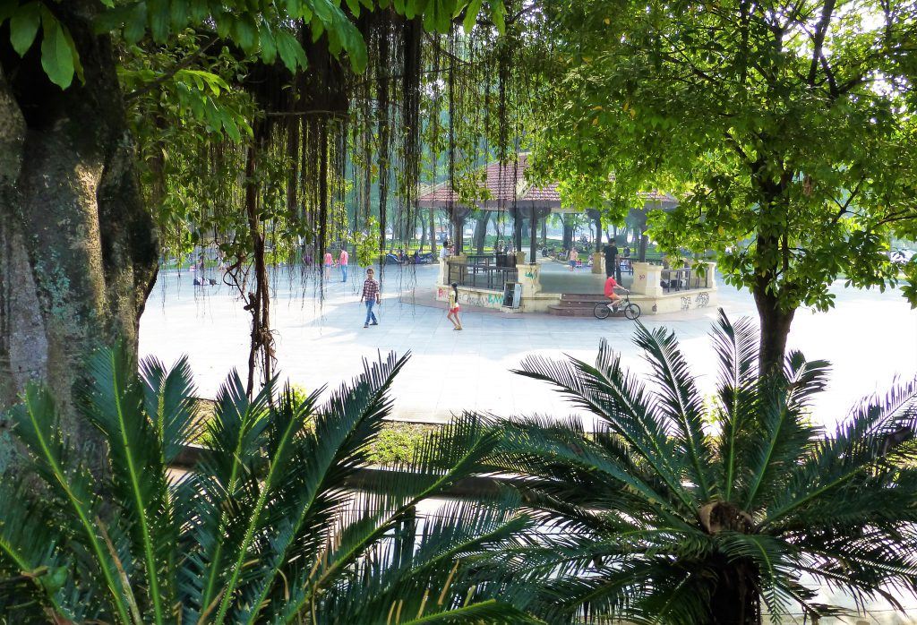 Early morning activities at Hoan Kiem Lake in Hanoi, Vietnam