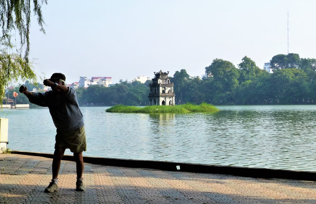 Early Morning activities at Hoan Kiem Lake, Hanoi Vietnam
