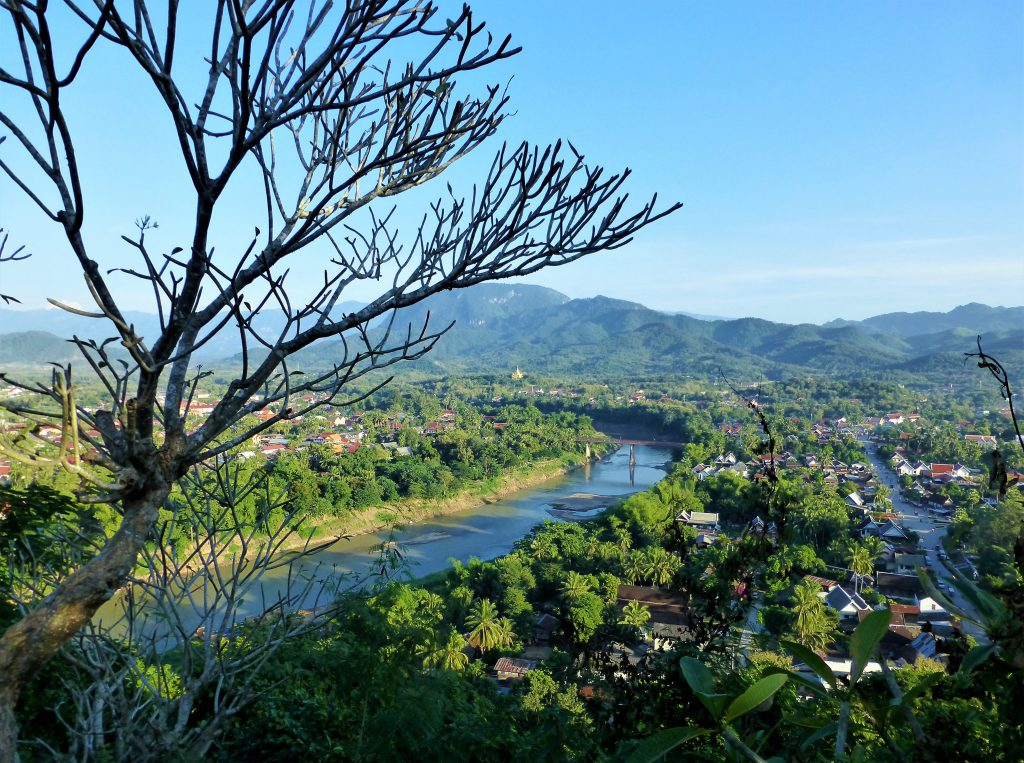 The Beautiful Sunset on Mount Phu Si in Luang Prabang