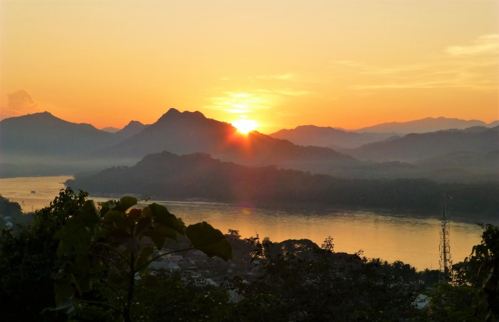 The Beautiful Sunset on Mount Phu Si in Luang Prabang